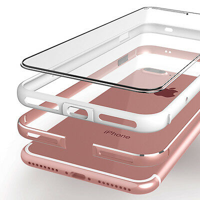 Shockproof Crystal Clear Hard Back Metal Bumper Case Cover for iPhone 6s 7 Plus
