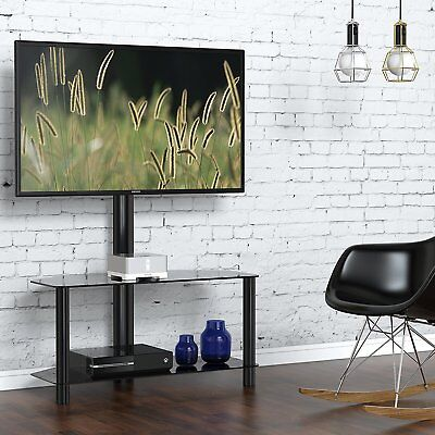 "Fitueyes Swivel Floor TV Stand with Mount component Shelves for 32""-65"" TV Black"