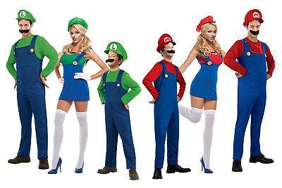 Ladies Adult Kids Mario Luigi Bros Fancy Dress Costume Outfit World Book Day