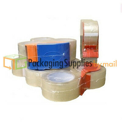 4 Rolls 2 Mil Small Pack Packing Tape Shipping 3 Inch x 55 Yards With Dispenser
