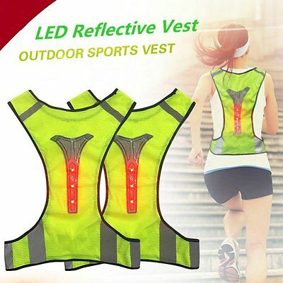 Thin Breathable Night Running Cycyling LED Safety Security Reflective Vest AU
