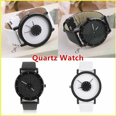 Korean Style Men Women Lovers Students PU Leather Wrist Watch Quartz Watch AU