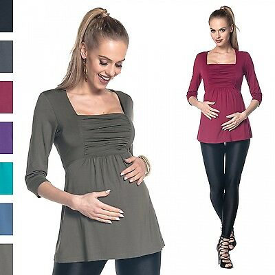 Happy Mama. Women's Maternity Top 3/4 Sleeves Ruched Bust Empire Waist. 560p
