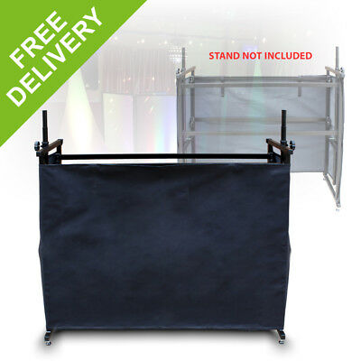 Vonyx Black DJ Detachable Booth Cloth Stand Cover 4ft Velcro Fix Table Curtain
