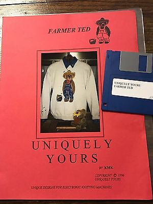 1996 Uniquely Yours FARMER TED Pattern w/Disk Brother Knitting Machine