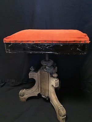 Awesome Antique Eastlake Tonk Chicago Adjustable Organ Stool Recover Me!!