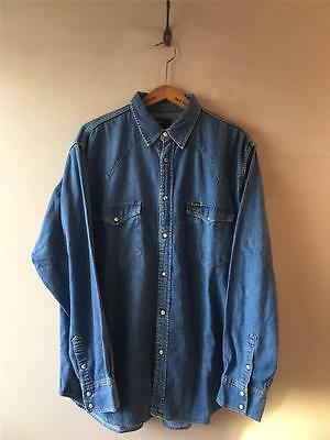 Vintage Lee Blue Denim Jeans Chambray Western Shirt 46 48 XL