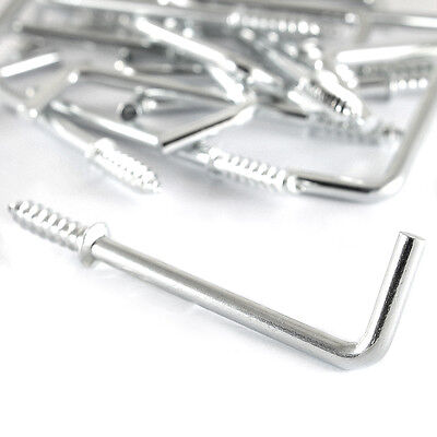 """3"""" 75mm Zinc Plated Silver Steel Nails Square L Shape Screw In Wall Hooks Pegs"""