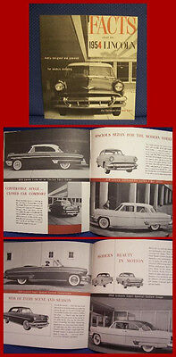 1954 LINCOLN Cosmopolitan & Capri Auto Facts Brochure - ORIGINAL New Old Stock