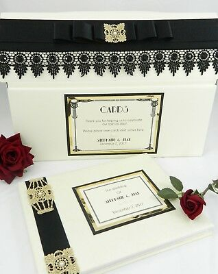 Personalised Gatsby Style Art Deco Wedding Card Post Box & Guest Book