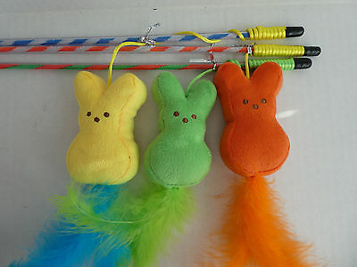 Cat Kitten Soft 3D Rabbit Activity Teaser Wand Toy
