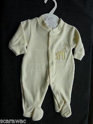 Premature / First Size.. Cream/ivory Velour Babygro.. 3-5 Pound Size..brand New
