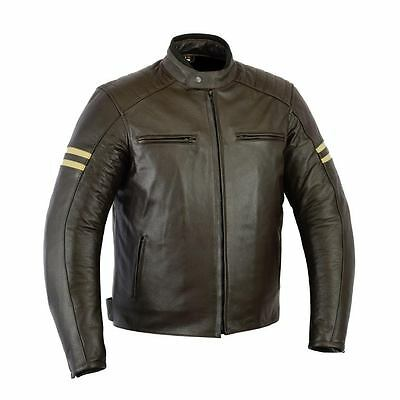 Rksports 1570  Mens Retro Leather Motorcycle Motorbike Jacket with Armour