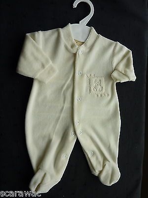 Premature / First Size.. Cream/ivory Velour Babygro.. 3-5 Pound Size..bear Motif