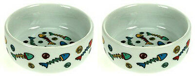 2 Ceramic Cat Kitten Food Or Water Bowls Colour Full Fish Design