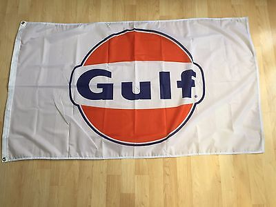NEW Gulf Racing Gasoline Flag Oil Orange Banner 3x5FT Wall Garage Free Shipping