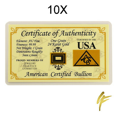 10X 1 gr. (Grain) Gold Bullion .9999 24k fine Bar Nugget Coin Certificate Gift
