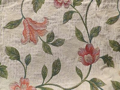 Heavy Cotton Tapestry Brocade Interiors Fabric Cream Floral Design