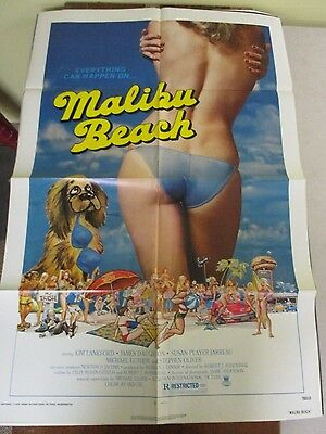 Vintage 1 sheet 27x41 Movie Poster Malibu Beach 1978 Kim Lankford James Daughton