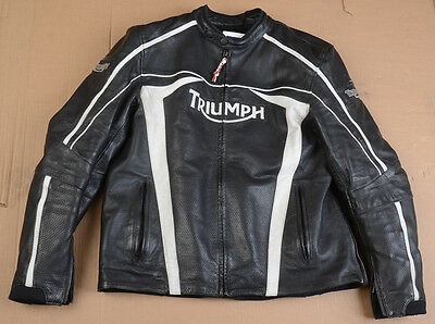 Triumph Black Perforated Leather Jacket w/ White Logos and Stripes - Size 52/62