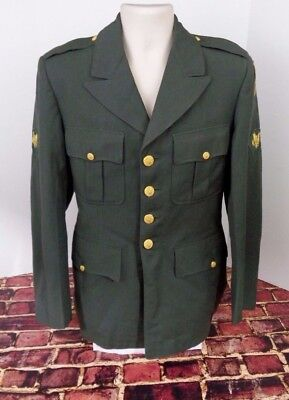 Vtg US Military Uniform Green Dress Jacket Coat Patches Army WWII Korean War o