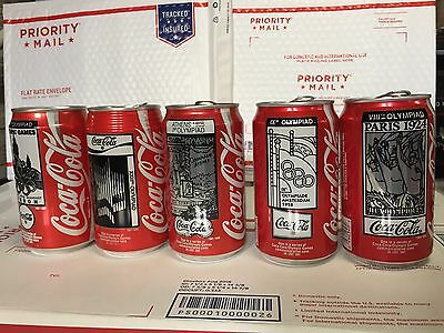 5 Olympics CocaCola collectible cans (empty) 1986 *Rare* vintage classic [Lot#1]