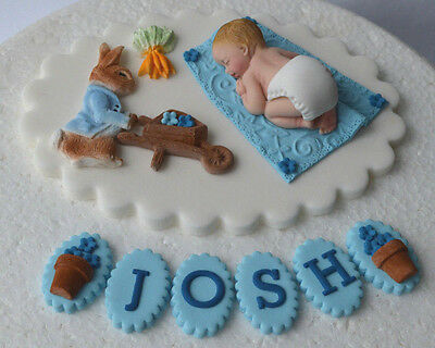 Edible personalised Peter Rabbit 1st Birthday cake topper/decoration