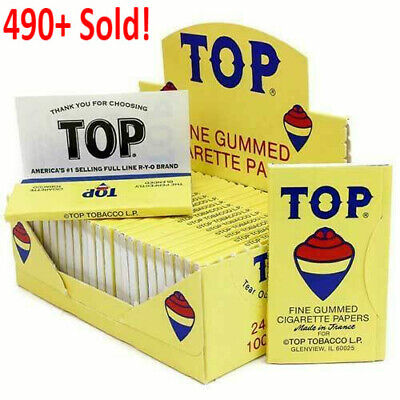 AUTHENTIC Top Fine Gummed Cigarette Rolling Papers 24 Booklets  - FREE SHIPPING