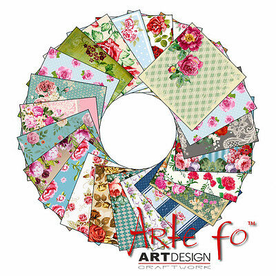 "125 Sheets Roses US HQ Design Paper Crafting Cards Scrapbooking 6x6"" Craft #pro"