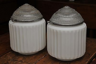 PAIR 1930's ANTIQUE DECO WHITE GLASS LARGE CEILING LIGHT FIXTURES 5 7/8 FITTER