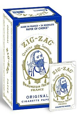 1 BOX of 24 PACKS - ZIG ZAG ORIGINAL WHITE ROLLING PAPERS - FREE SHIPPING