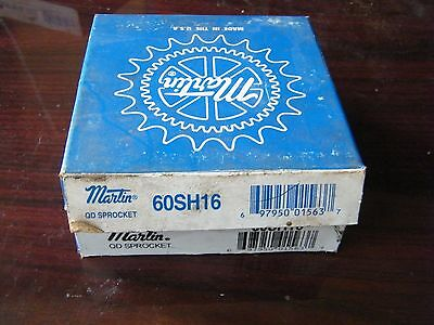 """2 pcs MARTIN 60SH16 1.85"""" BORED TO SIZE SPROCKET NEW OLD STOCK ROLLER CHAIN #60"""
