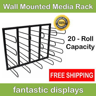 Media Wall Mounted Storage Rack Holds 20 Roll Vinyl Printing for Sign Shop