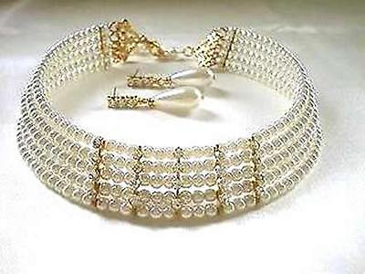 Off White (pale ivory) CHOKER & EARRING SET - 5 ROW FAUX PEARLS - BRIDAL FORMAL