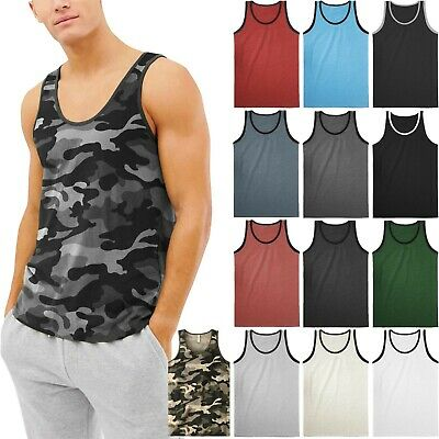 MA Mens TANK TOP SLEEVELESS SHIRTS Basic Gym Beach Active Tee Training Solid