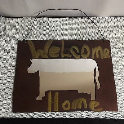 """Utterly"" Unique Handmade Heavy Metal Cow Wall Hanging ""Welcome Home"" Mirror"