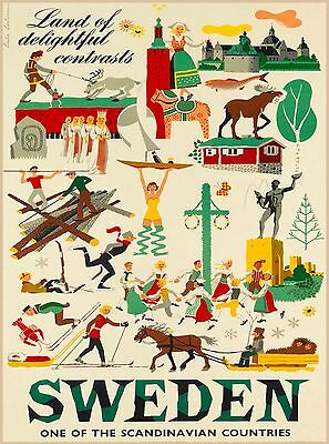 Land Delightful Contrast Sweden Scandinavia Vintage Travel Poster  Advertisement