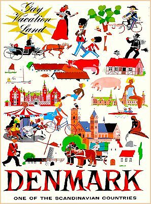 Gay Vacationland Denmark Scandinavia Vintage Travel Poster  Advertisement