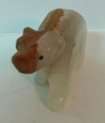 Hand Carved Stone White and Brown Polar Bear - FREE SHIPPING