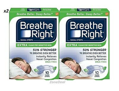 lot of 2 Breathe Right Extra Clear for Sensitive Skin, 10 Count