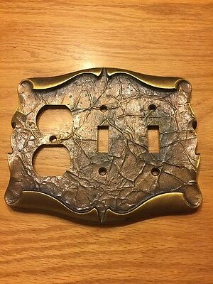 Vintage Amerock Carriage House Antique Brass Dbl Light Power Switch Cover Plate