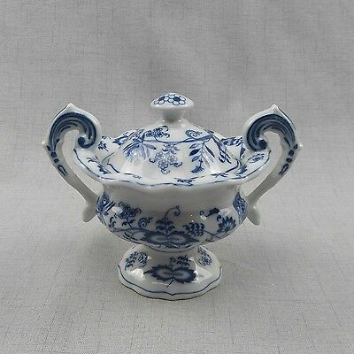 Blue Danube, Blue Onion Pedestal Candy Compote Dish, 2 Pc. Porcelain Ribbon Mark
