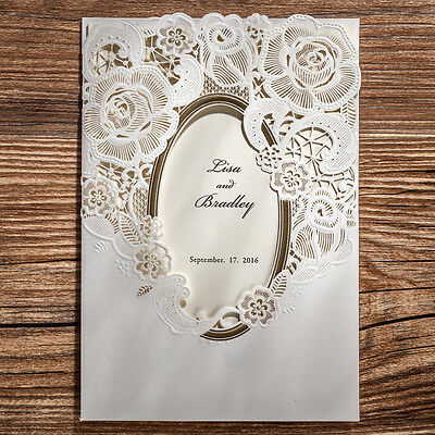 CW5185, White Laser Cut Flowers Gold Mirror Wedding Invitations Cards