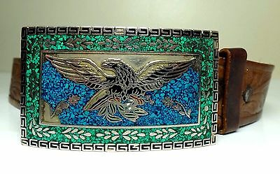 """Men's Vintage TAXCO Silver & Turquoise Buckle & Brown Leather Belt 32"""" - 36"""""""