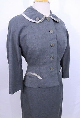 Vintage 1950s 50s Gray Wool Velvet Trim Half Moon Pockets Skirt Blazer Suit M