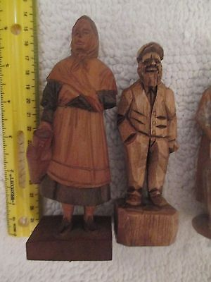 6 Carved Painted Wood Figurines Black Forest Bavaria Canada Bourgault Berthierr