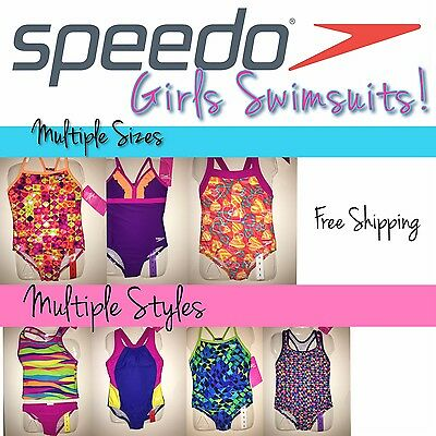 SPEEDO Girl's Swimsuits, SIZES 5-6-7-8-10-12-14-or-16, Retail $44 - NWT!