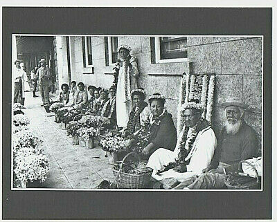 """Lei Sellers At Taylor Dry Goods Honolulu 1890's Black & White On 8X10"""" Mat"""