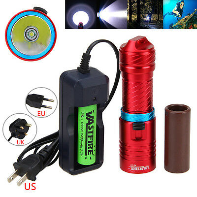 Waterproof 100m 10000Lm XM-L T6 LED Scuba Diving Flashlight Aluminum Torch 26650
