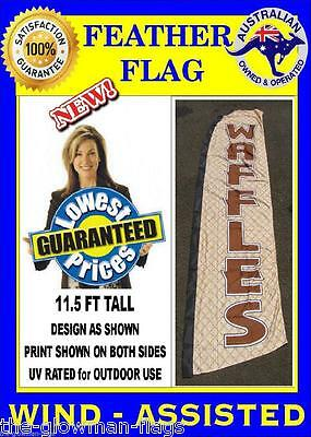 WAFFLES waffle wind-assisted sign feather flag NOT Teardrop SFSH9 (D)